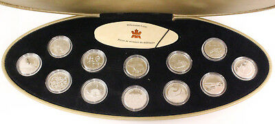 1999 Sterling Silver 25 Cent 12 Coin Proof Set Millennium Series w Gold Case RCM