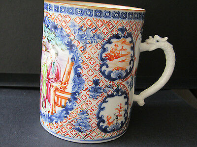 Antique Chinese  Qing dynasty mug with decorative dragon handle.
