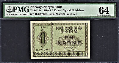 Norway One Krone 1944 Pick-15a Ch UNC PMG 64