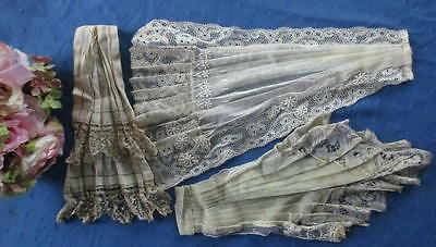 Antique Lot Of 3 Hand Made Lace/applique/embroidered~Linen Jabots~Dress Trims