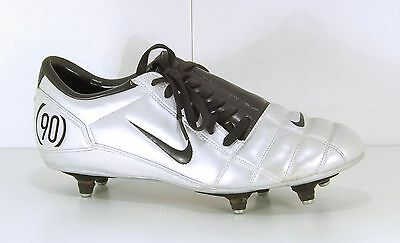 NIKE 90 Black Silver LEATHER look Mens Football Boots size 9 EUR 44