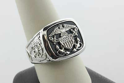 Sterling Silver 925 BGE Men's US Navy Eagle Valor and Glory Ring - Size 11