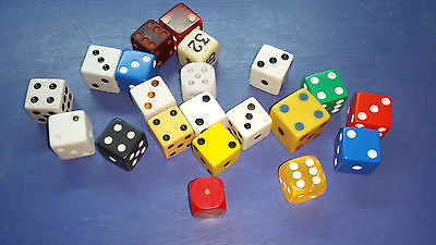 Vintage Antique Huge Lot of 21 Various Sizes Colors Dice From Various Decades