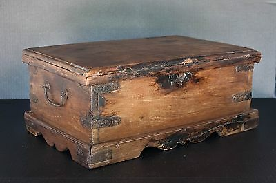 Antique stationery chest old unique wooden money box from India