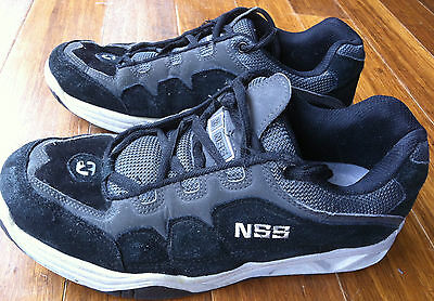 NSS Nice Skate Shoes Black on Black LEATHER SKATER SHOES Punk Rock MENS 10