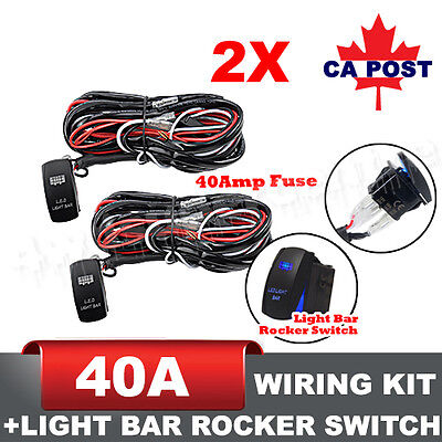 2PCs 12ft One-to-Two LED Light Bar Wiring Harness Kits Relay Fuse Rocker Switch