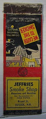 Antique Matchbook Cover Jeffries Smoke Shop  Sussex New Brunswick
