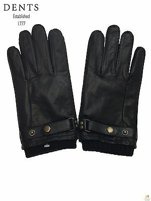 Dents Men's Fleece Lined Leather Gloves Warm Winter with Buckle 75-0010 New