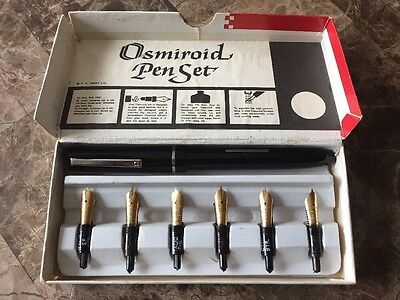 Osmiroid Italic Fountain Pen Set Straight 6 Gold Nibs Vintage in Box Calligraphy