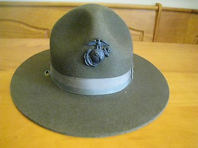 USMC Marine Corps Drill Instructor Sargent Hat Size 6 3/4 Missing Chin Strap