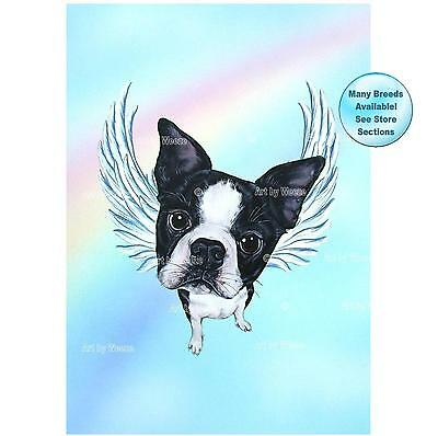 Boston Terrier Angel Art Print Dog Memorial Pet Loss Gift Dog With Angel Wings