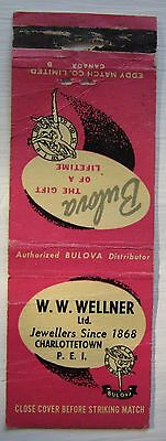Antique Matchbook Cover W W Wellner Jewelry Store Charlottetown Pei