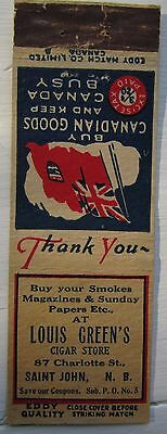 Antique Matchbook Cover Louis Green's Cigar Store St John Nb Wwii Patriotic