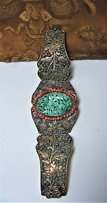 Antique Chinese carved Jade coral & silvered filigree bracelet 42.1 g