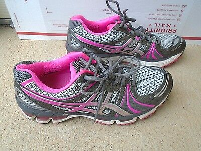 Women's Asics Gel-Kayano 18 pink/gray athletic running shoes size 8
