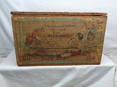 "Antique Rare ""Days Soap"" Wood Box"