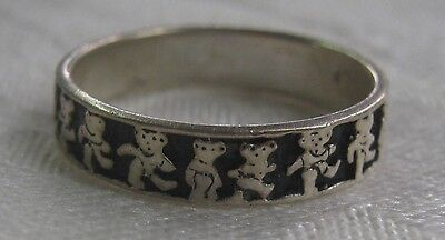 Ring, sterling silver Grateful Dead Dancing Bears ring, size 8