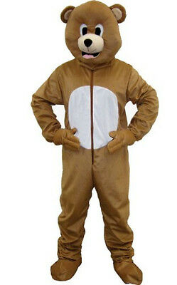 Dress up America Bear Jumpsuit and Head Mask Costume Set - L, Brown