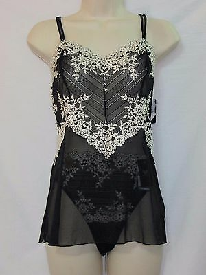 NWT Wacoal Camisole and Pantie Set Black with Ivory Embroidery 811191 Size XL