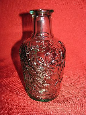 Vintage Maple Syrup Bottle Green Glass Maple Leaf Pattern Made in Canada