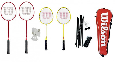 Wilson 4 Player Family Badminton Set (2 Adult & 2 Junior) with Net, Posts & Shut