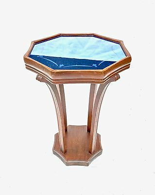 Art Deco Cobalt Etched Blue Glass Mirror Octagonal Plant Stand