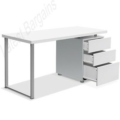 Office Computer Desk Table Home Storage Student Study Drawers Cabinet White