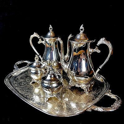 Antique Pilgrim Silverplate Coffee/Tea Creamer/Sugar And Footed Tray Set