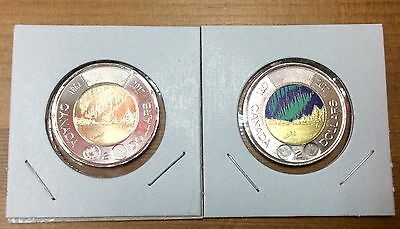 2017 CANADA 150th  Toonies- Pair of Colored & Non Colored (BU From roll)-No Tax
