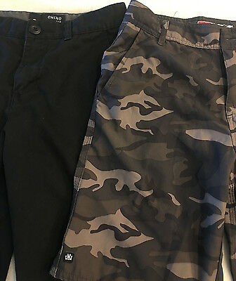 Lot 2 shorts size 26 micros army/camo and tillys chino black - mens boys - COOL