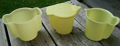 Vintage Tupperware Cream and Sugar Containers, yellow plastic
