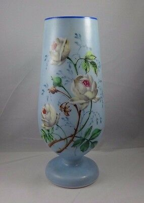 wonderful antique  Milk Glass Vase Hand Painted Rose Floral Victorian?