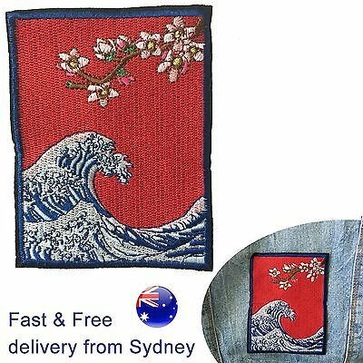 Kangawa Ocean Wave woven sew on patch - flower tree sea swell art embroidery