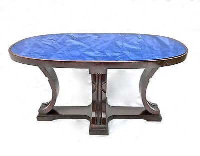 Art Deco Cobalt Blue Glass Mirror Oval Coffee Table.