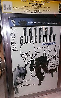 Batman Superman #1 CGC SS 4x signed & 4x Batman sketch! Lee, Layton, Lopresti++