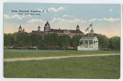 State Hospital BASEBALL Field Stadium YANKTON SD Vintage South Dakota Postcard