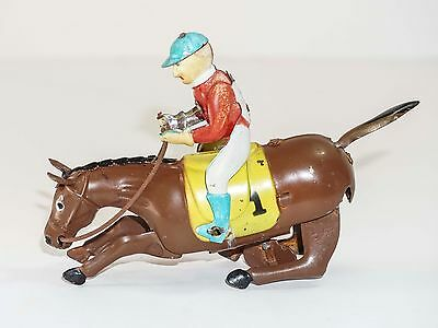 Vintage Tin Wind - Up Toy Racing Jockey and Horse Good Action Toy Detailed