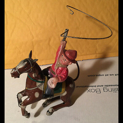 Orig vintage 50s made in Japan ALPS tin litho wind-up toy Cowboy on Horse Lariat