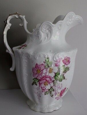 Antique EPPCO Palestine White Pitcher Marquette Gold Handle Pink Flowers Large