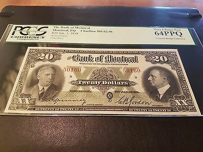1938 Bank of Montreal $20 Bill CH UNC 64