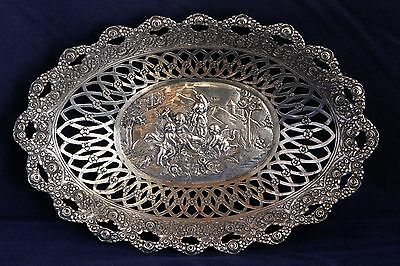 19th CENTURY PIERCED SILVER TRAY REPOUSSE