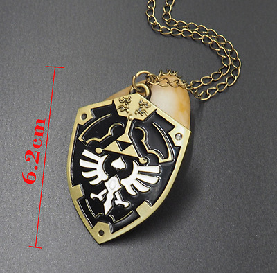The Legend of Zelda Dark Links Hylian Shield Necklace Pendant Bronze