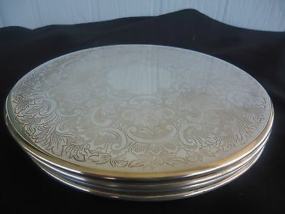 4 vintage strachan silver plate round   placemats