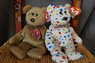 1999 Signature Bear and Ty 2K beanie babies with error, rare tag, mint condition