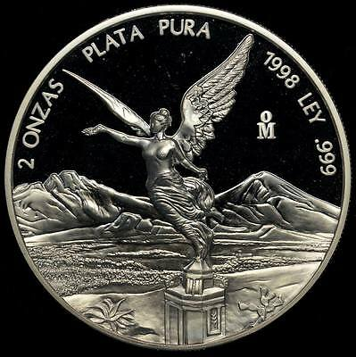 1998 Mexico 2 oz Silver Libertad Proof - Key Date