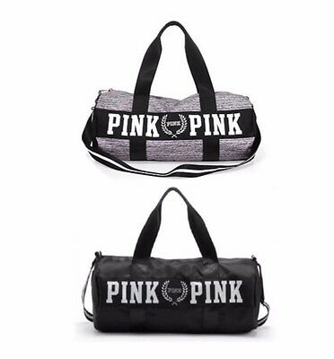 Victoria's Secret PINK Double Strap Duffle Gym Bag With Logo Black or Grey