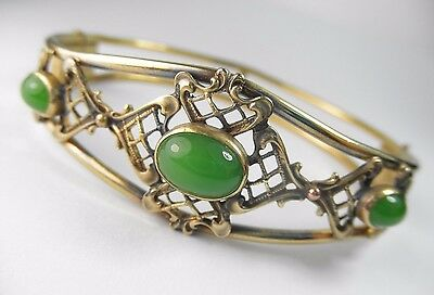 Antique Victorian Gold Filled Filigree Hinged Bangle Jade Green Glass Cabochons