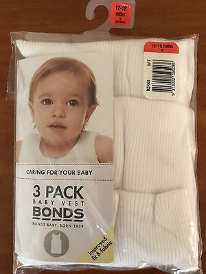 BONDS BABY SINGLETS THREE PACK BABY VEST WHITE COTTON SIZE 12-18 Months Cheap