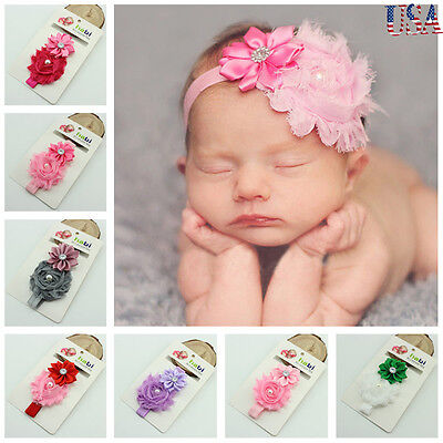 10pcs Kids Girl Baby Headband Toddler Lace Bow Flower Hair Band Accessories