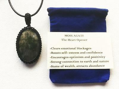 Moss Agate Pendant Crystal Gemstone Necklace Adjustable Cord, Velvet Pouch
